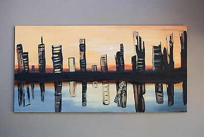 """""""city Sunset"""" 6ftx3ft Cityscape Oil Painting By Deanna Beesley"""