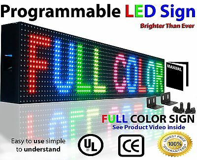 """Full Color Led Sign 7"""" X139"""" Programmable Image Text Open Display Baord Outdoor"""