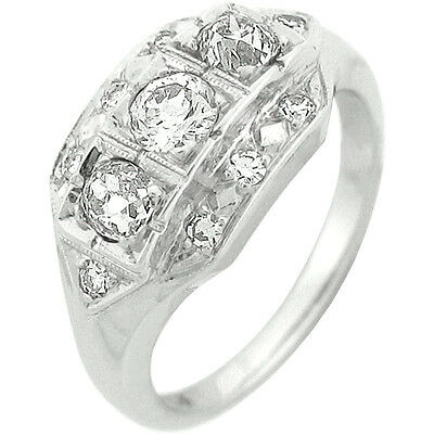 Vintage 1.25ctw 11pcs 3 Round Diamond W/ Accent Anniversary Ring 14k White Gold