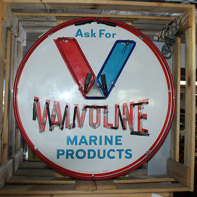 1996 Valvoline Marine Products Advertising Tin Neon Sign Reproduction