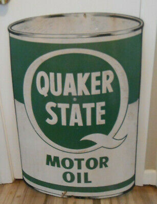 Rare Vintage Quaker State Die Cut Oil Can Advertising Reflective Metal Sign