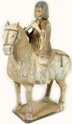 Horse Musician Rider Ancient Medieval China Tang Dynasty Ceramic Votive 900ad