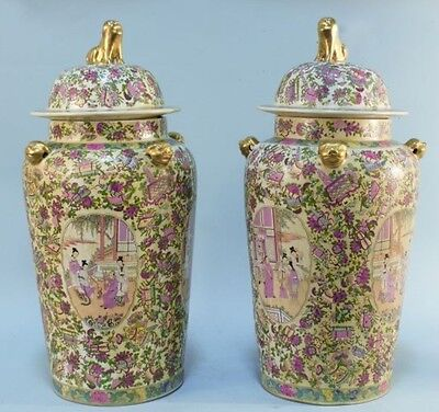 Pair Of Lidded Famille Rose Temple Jars Chinese Art Circa 1900