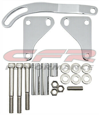 Chrome Steel Power Steering Bracket Set For Chevy Small Block Sbc Swp Lwp