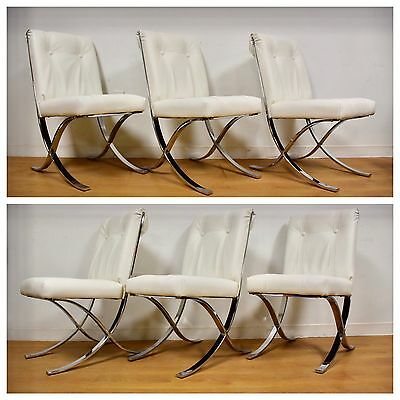 milo baughman white vinyl dining chairs  set of 6 mid century modern