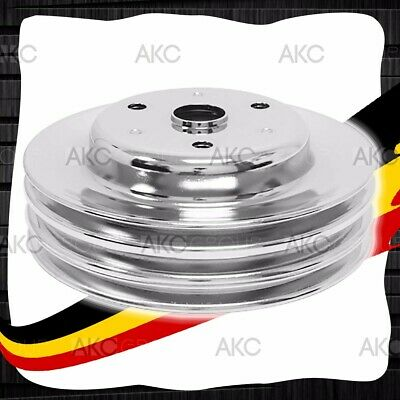 3 Groove Chrome Steel Crankshaft Pulley For 69-85 Chevy Sb With Long Water Pump