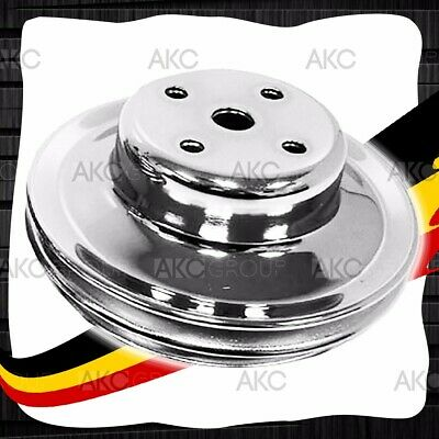 2 Groove Chrome Steel Long Water Pump Pulley For 69-85 Chevy Big Block Lwp
