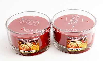 New Lot Of 2 Yankee Candle Apple Pumpkin 3 Wick Candle 17oz