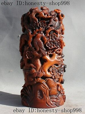"""8""""rare China Natural Ox Horn Carved Magpie Plum Blossom Brush Pot Pencil Vase A"""