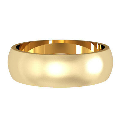 jewelco london 18ct yellow gold 6mm d shape satin brushed wedding band ring