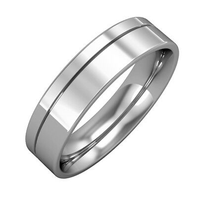 jewelco london 18ct white gold 5mm flat court fine groove wedding band ring