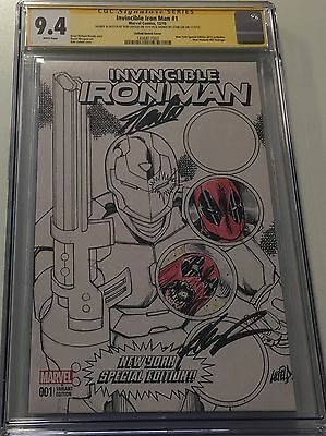 Invincible Iron Man #1 Nycc Signed By Stan Lee & Rob Liefeld W/sketches Cgc Ss