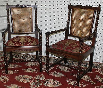 Pair Antique Country French Barley Twist Armchairs Hand Woven Cane Backs C 1890