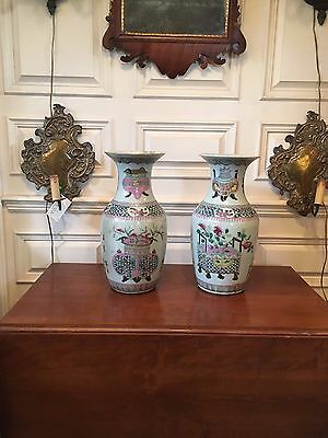 "Late Qing Dynasty Chinese Pair Of 17"" Handprinted Famille Vases Asian Porcelain"