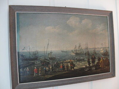 """Antique: Oil Painting On Paper / """" Ships In The Harbor """" Artist: Unknown"""