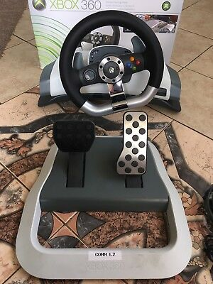 Microsoft Xbox 360 Racing Steering Wheel Wireless, Complete Pedal Original Box