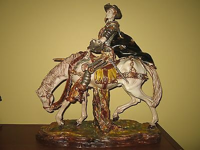 "Don Quixote By Eugene Pattarino, Italy Ceramic Mounted Figurine, 16"" Tall"