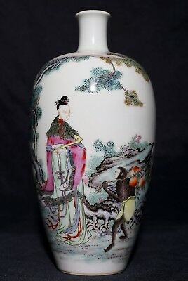 Excellent Rare Old Chinese Antique Porcelain Bottle Vase Marked Yongzheng Fa200
