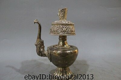 """9"""" Old Chinese Tibet Pure Silver Dragon Wine Vessel Tea Pot Flagon Kettle"""