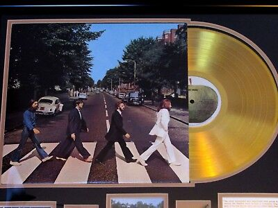 "beatles lp ""abbey road"" limited montage display custom framed 24ct gold record"
