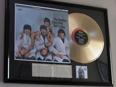 "beatles lp ""yesterday and today"" vintage ""butcher"" display w/ 24ct gold record"