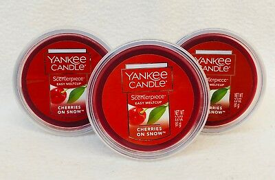 3 Yankee Candle Scenterpiece Cherries On Snow Easy Melt Cup Refill 2.2 Oz