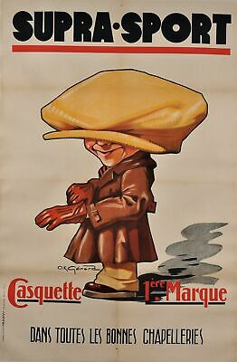 "original vintage french poster advertising ""supra sport"" hats by o.k gerard 1927"