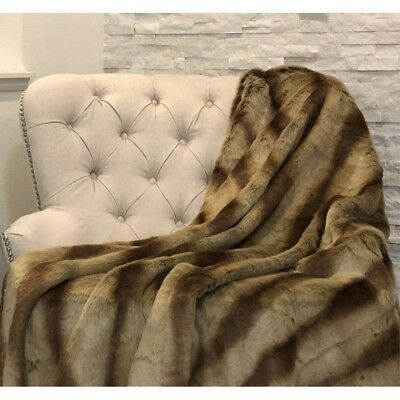 Plutus Sheared Faux Chinchilla Throw, (blanket 108w X 90l King)