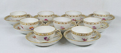 antique kpm germany 9 coffee cups and saucers set 19th century