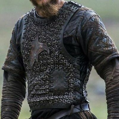 Ragnar Costume From Season 2 Leather Vest With Chainmail & Shirt Ragnar Lothbrok