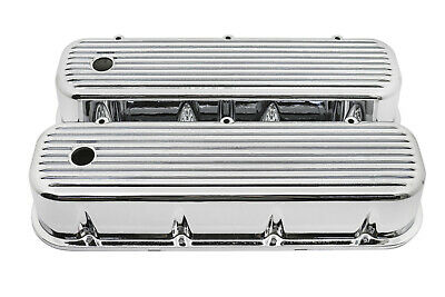 Finned Chrome Aluminum Tall Valve Covers For 65-95 Chevy Bb 396 427 454 502