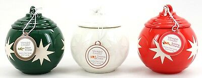 New Yankee Candle Set Of 3 Ceramic Christmas Ornament 7 Oz Candles