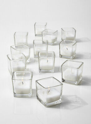 10-hour White Unscented Cube Votive Candles In Set Of 12 Or Set Of 96