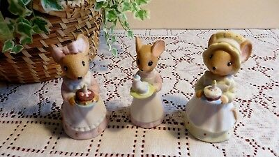 Charming Tails  Happy Birthday Cake Bells & Figurines - (lot Of 3) Vintage 1984