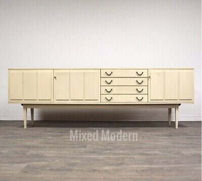 "White German 94"" Credenza By Bartels Sideboard Mid Century Modern"