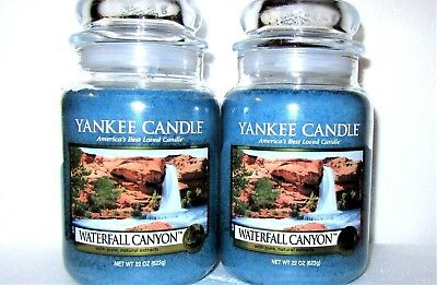"""Set Of 2 Yankee Candle Retired """"waterfall Canyon"""" Large 22 Oz.~white Label~rare"""