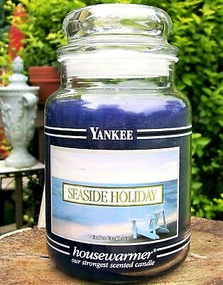 "Yankee Candle Retired Black Band ""seaside Holiday"" Large 22 Oz~ White Label~ New"
