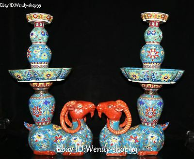 "20"" Top Enamel Porcelain Sheep Ram Goat Animal Candle Holder Candlestick Pair"