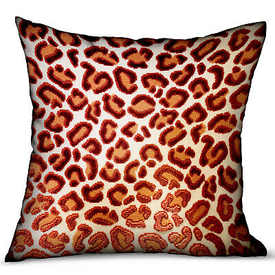 Plutus Emberglow Velvet Cheetah Red Animal Motif Luxury Throw Pillow Double S...