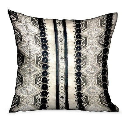 Plutus Scandanavian Stripe Black, White Geometric Luxury Throw Pillow Double ...