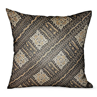 Plutus Pewter Lattice Charcoal Geometric Luxury Outdoor/indoor Throw Pillow D...