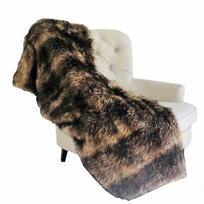 Plutus Brown Mountain Coyote Handmade Luxury Throw Blanket 70l X 90w Twin