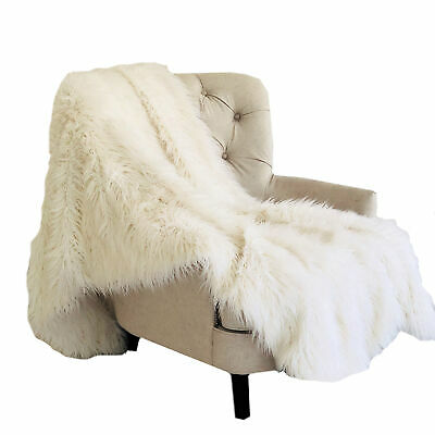 Plutus Off-white Mongolian Faux Fur Luxury Throw Blanket 70l X 90w Twin