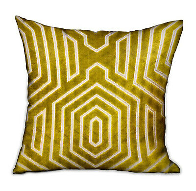 Plutus Goldenrod Velvet Gold Geometric Luxury Throw Pillow Double Sided 12 X 20