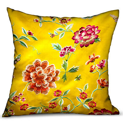 Plutus Heavenly Peonies Yellow Floral Luxury Throw Pillow Double Sided 12 X 20