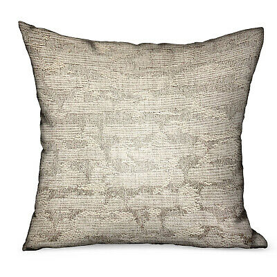 Plutus Silvered Rivulet Silver Solid Luxury Outdoor/indoor Throw Pillow Doubl...