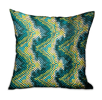 Plutus Montage Haven Green Geometric Luxury Throw Pillow Double Sided  12 X 20
