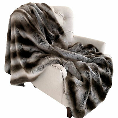 Plutus Fancy Gray Silver Chinchilla Faux Fur Handmade Luxury Throw Blanket 70...