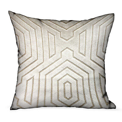 Plutus Pearly Velvet Gray Geometric Luxury Throw Pillow Double Sided  12 X 20
