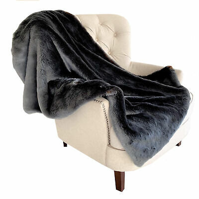 Plutus Two Tone Gray/amber Handmade Luxury Throw Blanket 70l X 90w Twin